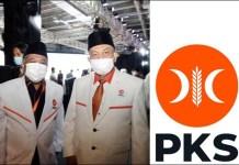 LAMBANG BARU PKS: Irwan Setiawan (kiri) di sela Munas V PKS di Bandung dan lambang baru PKS. | Foto: Barometerjatim.com/IST