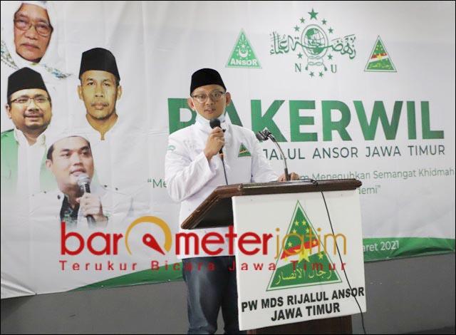 RAKERWIL: Gus Syafiq, buka Rakerwil PW MDS Rijalul Ansor Jatim di Trawas, Mojokerto. | Foto: Barometerjatim.com/ROY HS