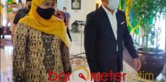 'SEJOLI': Kehadiran Gubernur Jatim, Khofifah di Gedung Sate disambut hangat Gubernur Jabar, Ridwan Kamil.   Foto: Barometerjatim.com/ABDILLAH HR