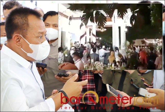 BANTAH HABIS: Heru Tjahjono habis-habisan membantah. Inset: Capture video pesta ultah Khofifah.   Foto: Barometerjatim.com/ROY HS