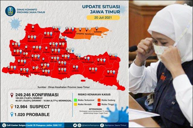 KHOFIFAH MINTA MAAF: 33 kabupaten/kota di Jatim berstatus zona merah Covid-19.   Foto: Barometerjatim.com/ROY HS
