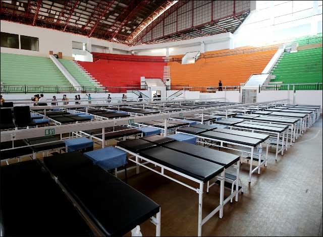 SIAP BEROPERASI: RS Darurat GOR Indoor GBT siap beroperasi, kapasitas 225 tempat tidur. | Foto: Barometerjatim.com/IST