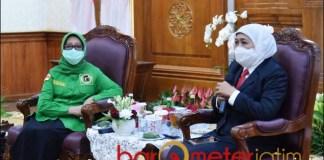 PPP TEMUI KHOFIFAH: Mundjidah Wahab temui Khofifah di Gedung Negara Grahadi, Kamis (14/10/2021). | Foto: Barometerjatim.com/IST