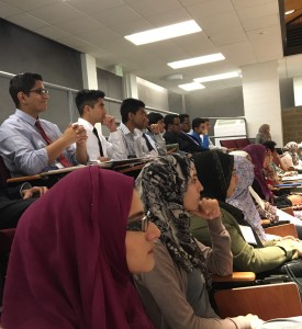 Muslim Students Association sit in the auditorium to attend the introduction event. Photo provided by Mahum Thair ('16).