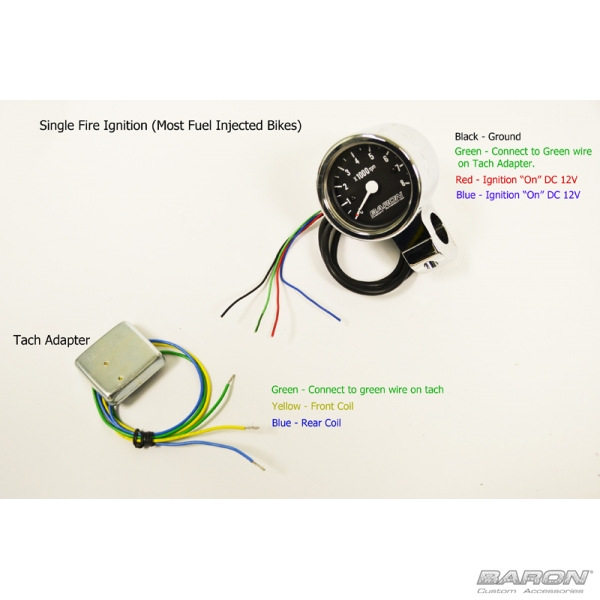 Rpm Tach Wiring 2 Quot Mini Bullet Tach Black Face 1 Quot Clamp By Baron Custom