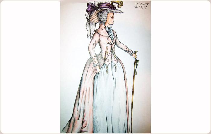 Disegni di abiti femminili in stile barocco e rococ