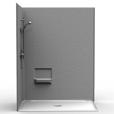 barrier free corner shower four piece 60x36 8 inch tile look