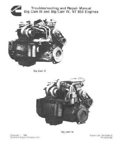Cummins N855 BigCam engine manuals, parts books, spec sheets