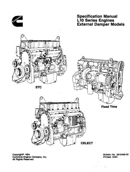 Cummins L10 specs, manuals and bolt tightening torques