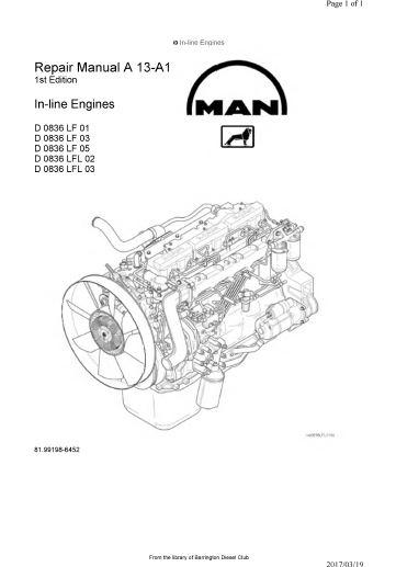 MAN D0834, D0836LE, D0836LF specs, bolt torques, manuals
