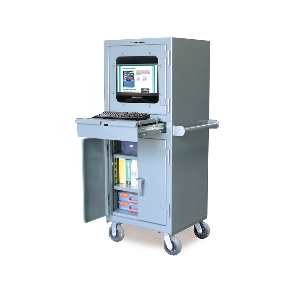 Mobile Industrial Computer Cabinet with Retractable
