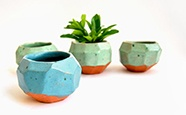 Glazed Blue and Green Faceted Planters in Red Clay