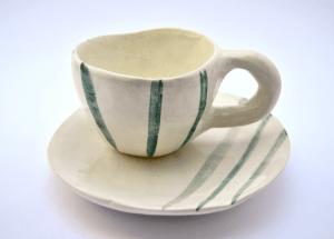 Green Stripes Rustic Handmade Coffe or Tea Cup