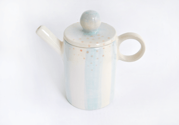 Blue Stripd Cylindrical Teapot