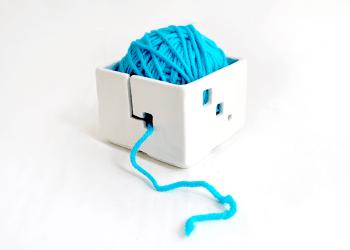 Blue Cube Ceramic Yarn Bowl