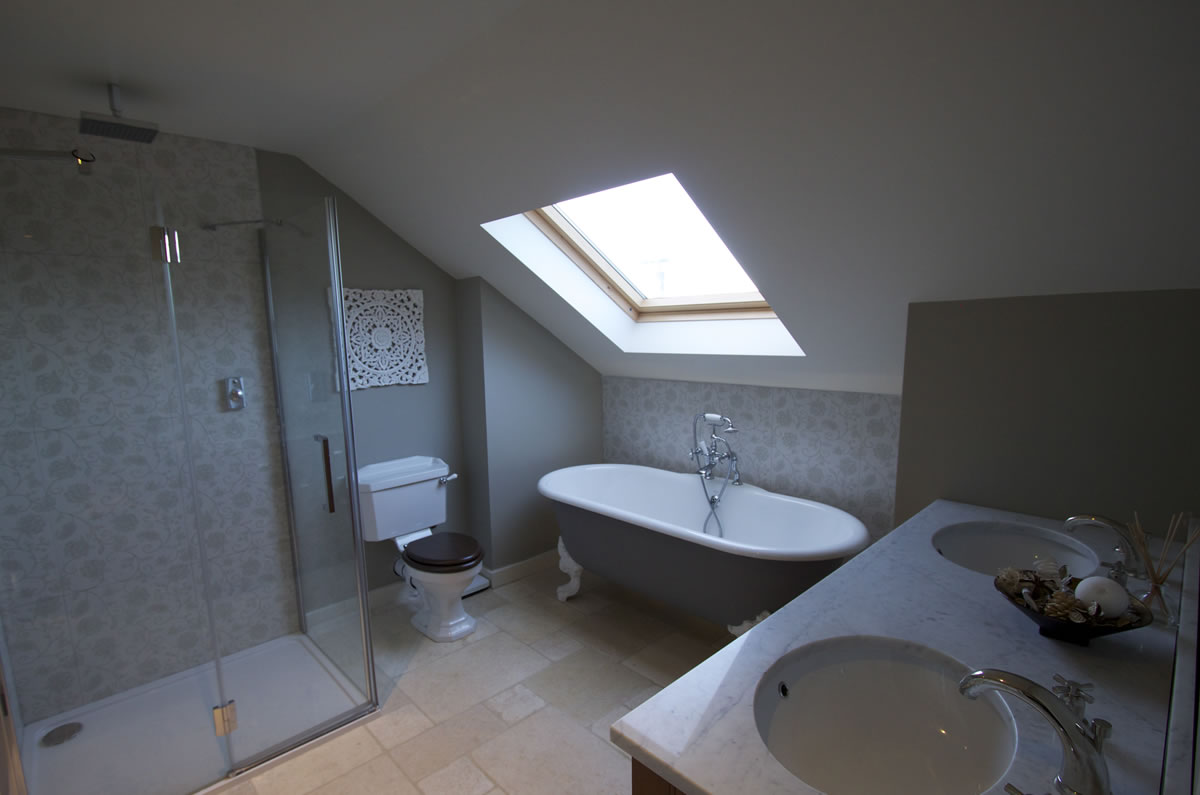 Marble double Sink in Ensuite Bathroom Installation