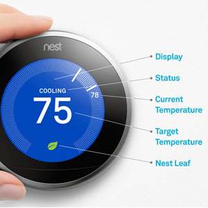 A close up showing the nest thermostat features