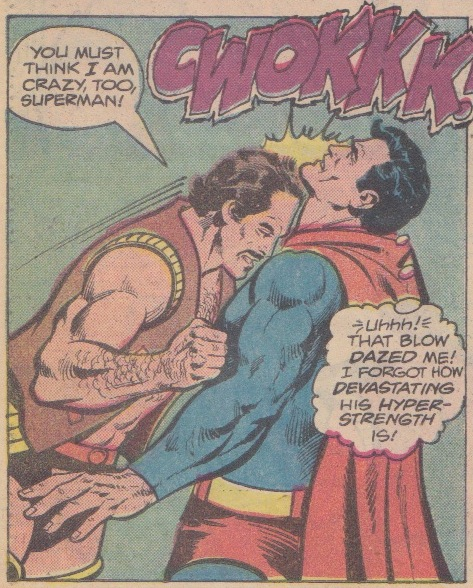 Superman gets head-butted.