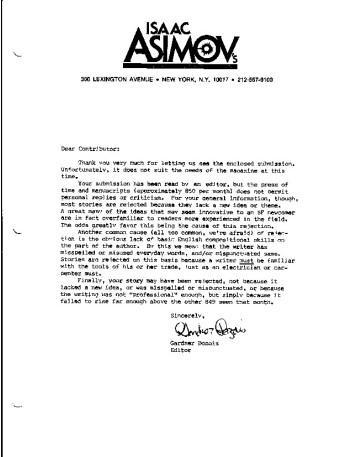 Asimov's rejection letter