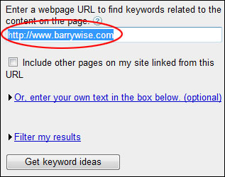 Google Adwords Tool Website URL