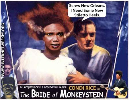 Condoleezza Rice during Hurricane Katrina, cartoon