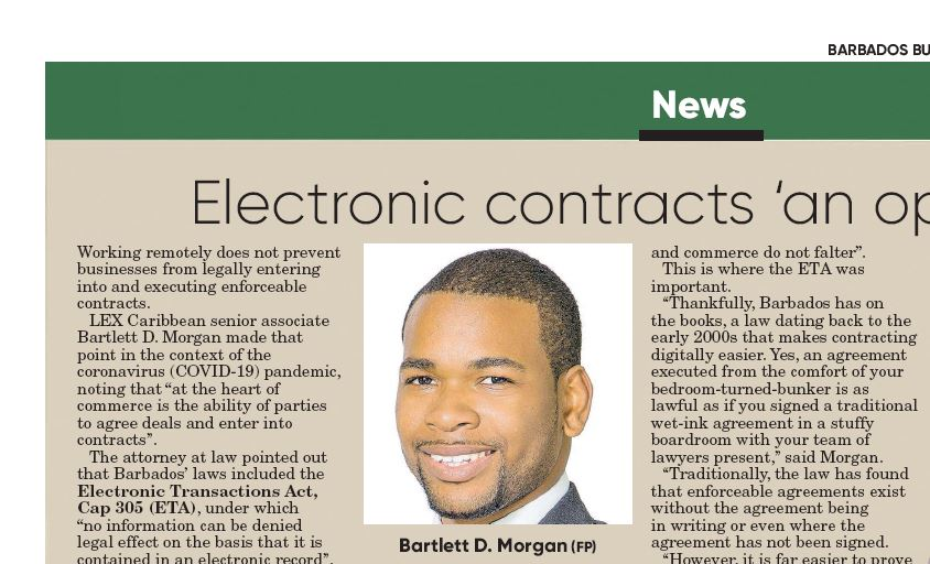Bartlett Morgan Article Barbados Business Authority