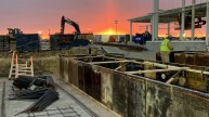 Sunrise over rebar being placed at job site