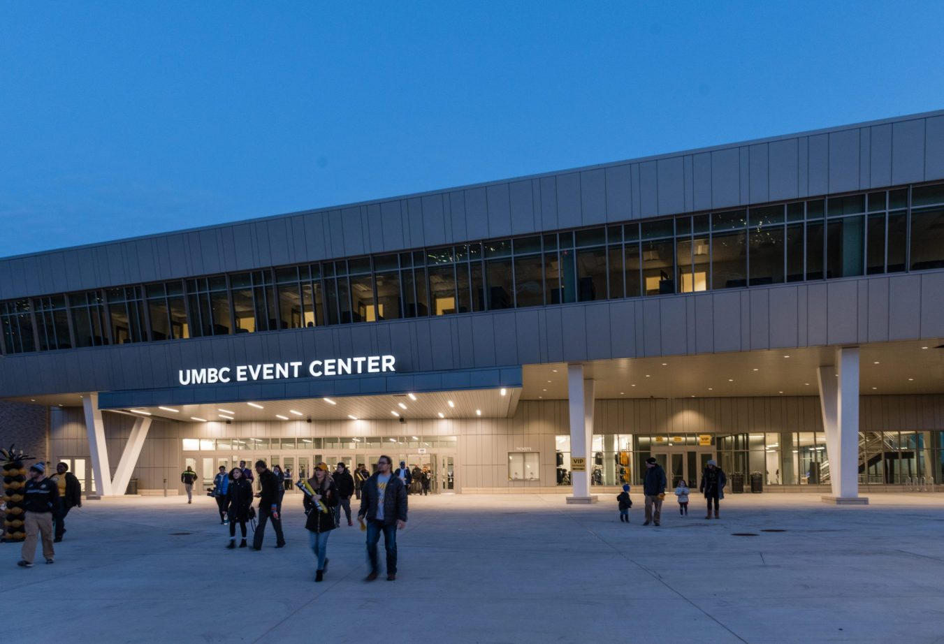 Crowds entering the main entrance of the UMBC event center