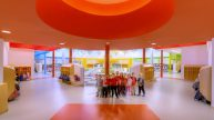 Barton Malow_Troy Early Childhood Center_Common Space_Red
