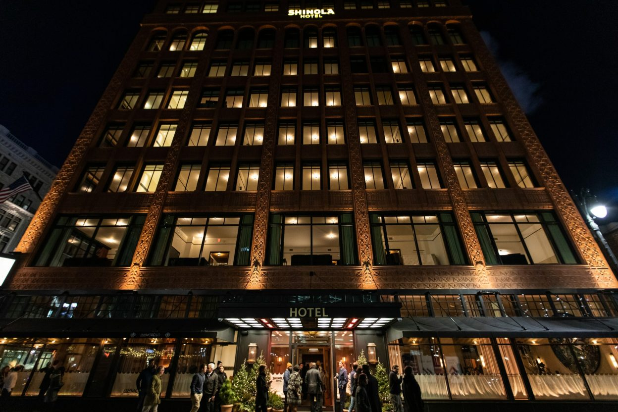 Shinola Hotel entrance at night