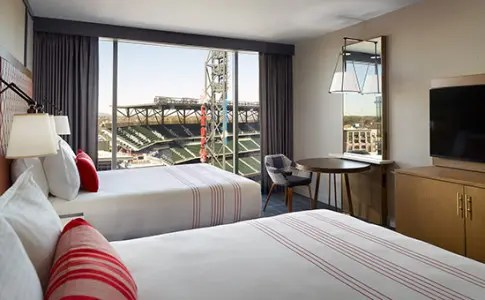 Double queen bed with a view of SunTrust Park