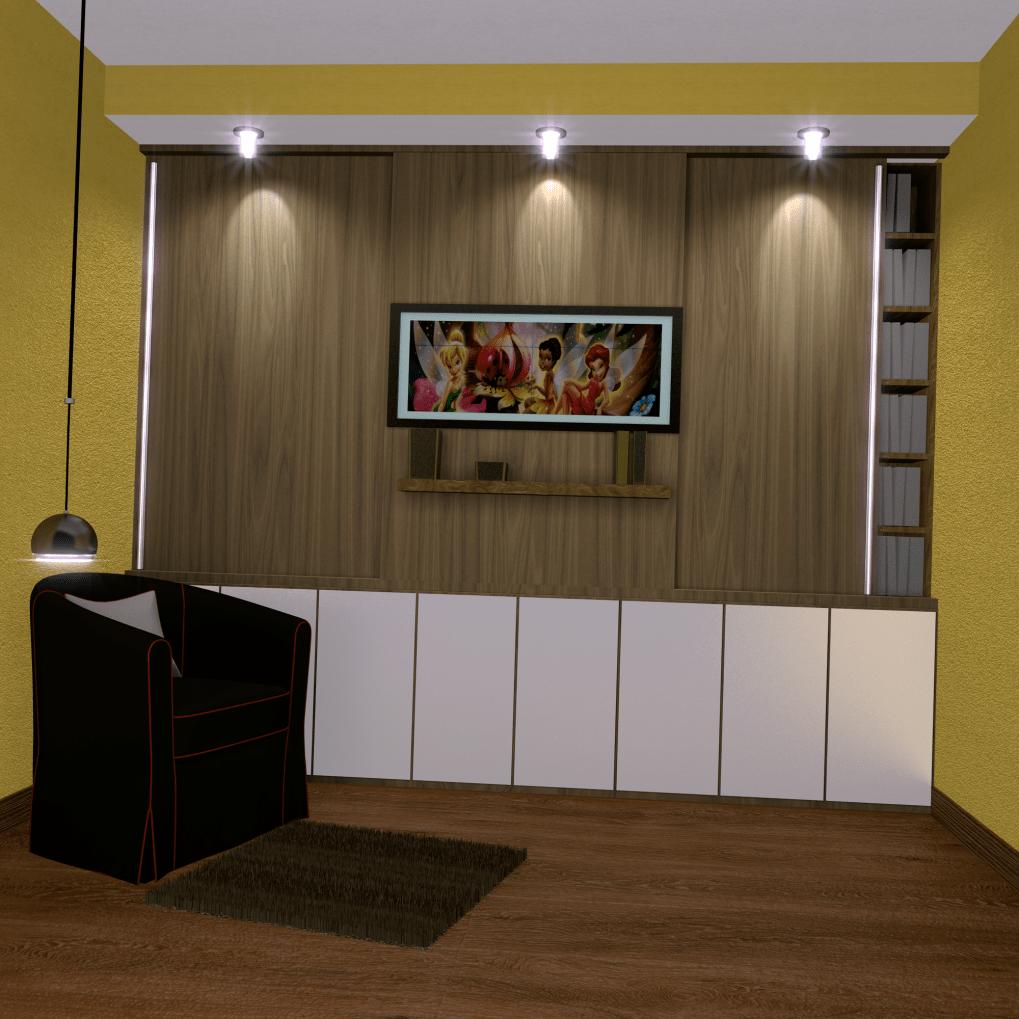 szafa w części czytelnianej salonu - projekt szafy + oświetlenie