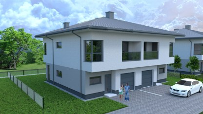 wizualizacja narożna frontowa budynku jednorodzinnego