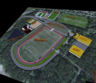 projekt koncepcyjny ośrodka sportu w Wojkowicach, przeprojektowany stadion, dodatkowe zabudowania, korty tenisowe wojkowice, skate park wojkowice, orlik wojkowice