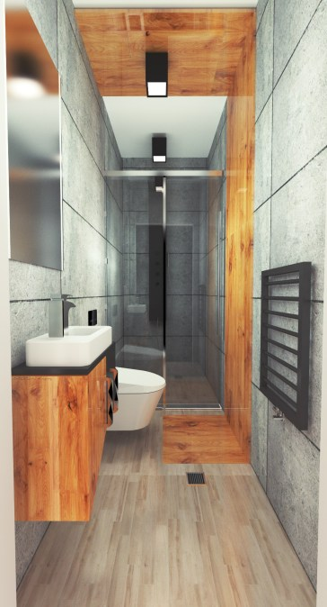 projekt nowoczesnej łazienki z betonem