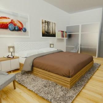 nowoczesna sypialnia w domu jednorodzinnym