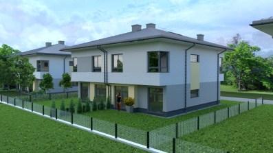 wizualizacja domu jednorodzinnego w zabudowie bliźniaczej