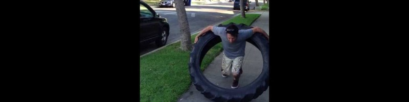 Guy Hula Hoops 100 pound Tire!!!!!! WORLD RECORD! ORIGINAL by MichaelWoolson