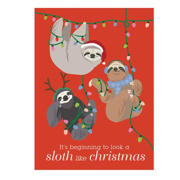 Holiday Sloth Boxed Cards Bas Bleu UP9962