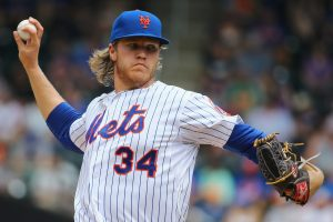 NEW YORK, NY - MAY 17: Noah Syndergaard #34 of the New York Mets pitches against the Milwaukee Brewers during their game at Citi Field on May 17, 2015 in New York City. (Photo by Al Bello/Getty Images)