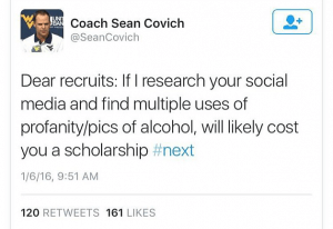 Tweet by WVU Coach Sean Covich