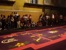 The carpets are waiting for the procession