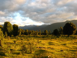 Zonsondergang over de pampa bij campsite Perdida