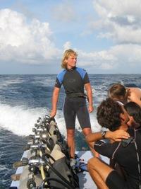 Bas klaar om te gaan duiken