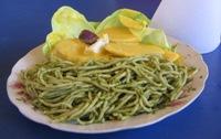 Spaghetti met Papa a la Huancaina, de specialiteit van Huancayo
