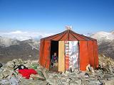 De hoge refugio, ons basiskamp voor de klim