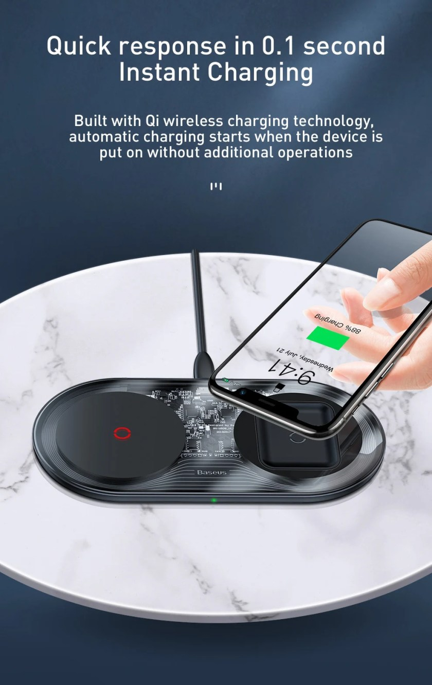 Baseus 24W Fast Qi Wireless Charger for iPhone 11 Pro Max XR Xs AirPods Dual 10W Fast Charging For Samsung S10 S9 Huawei P30 Pro