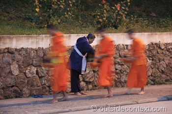 Laos monks begging each morning