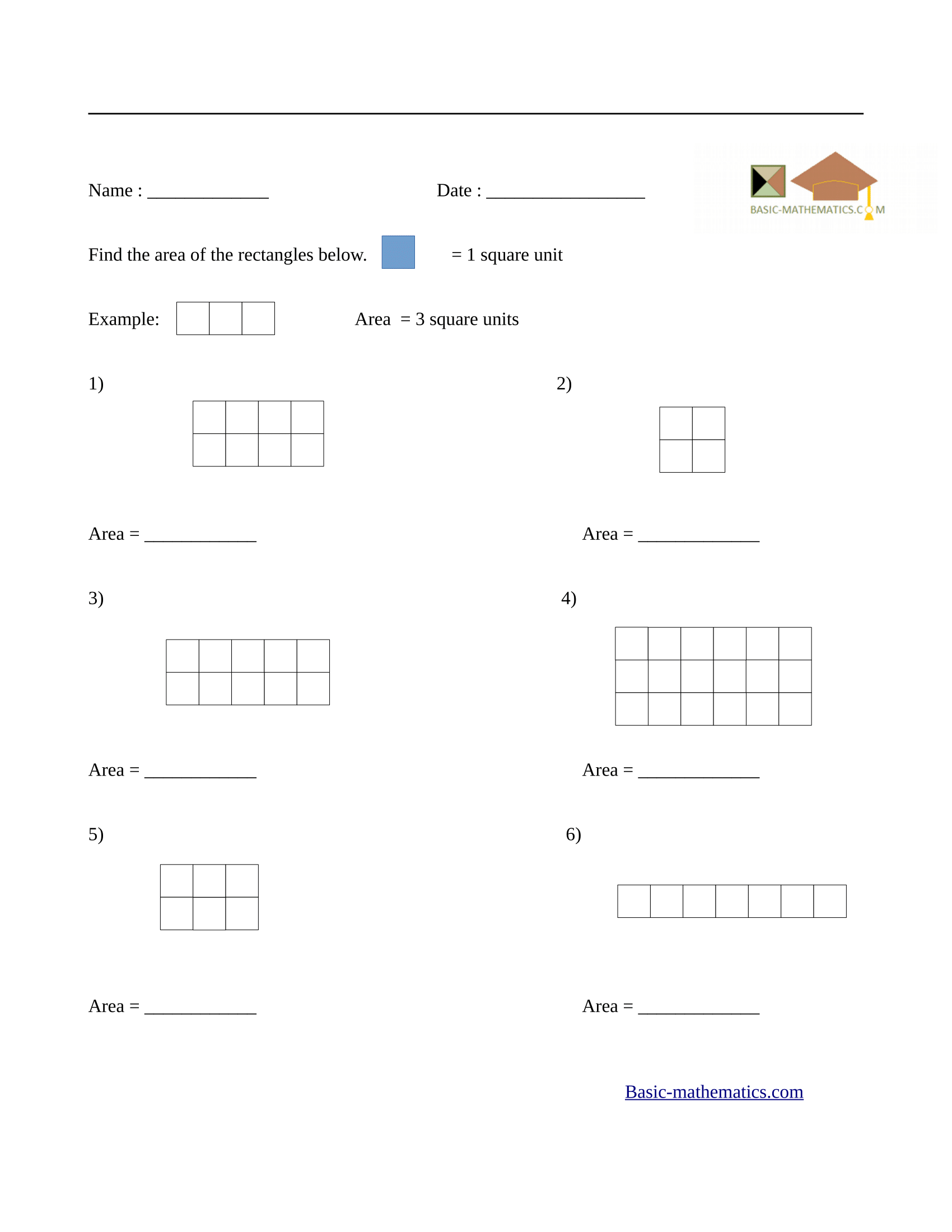 Free Math Worksheet Area