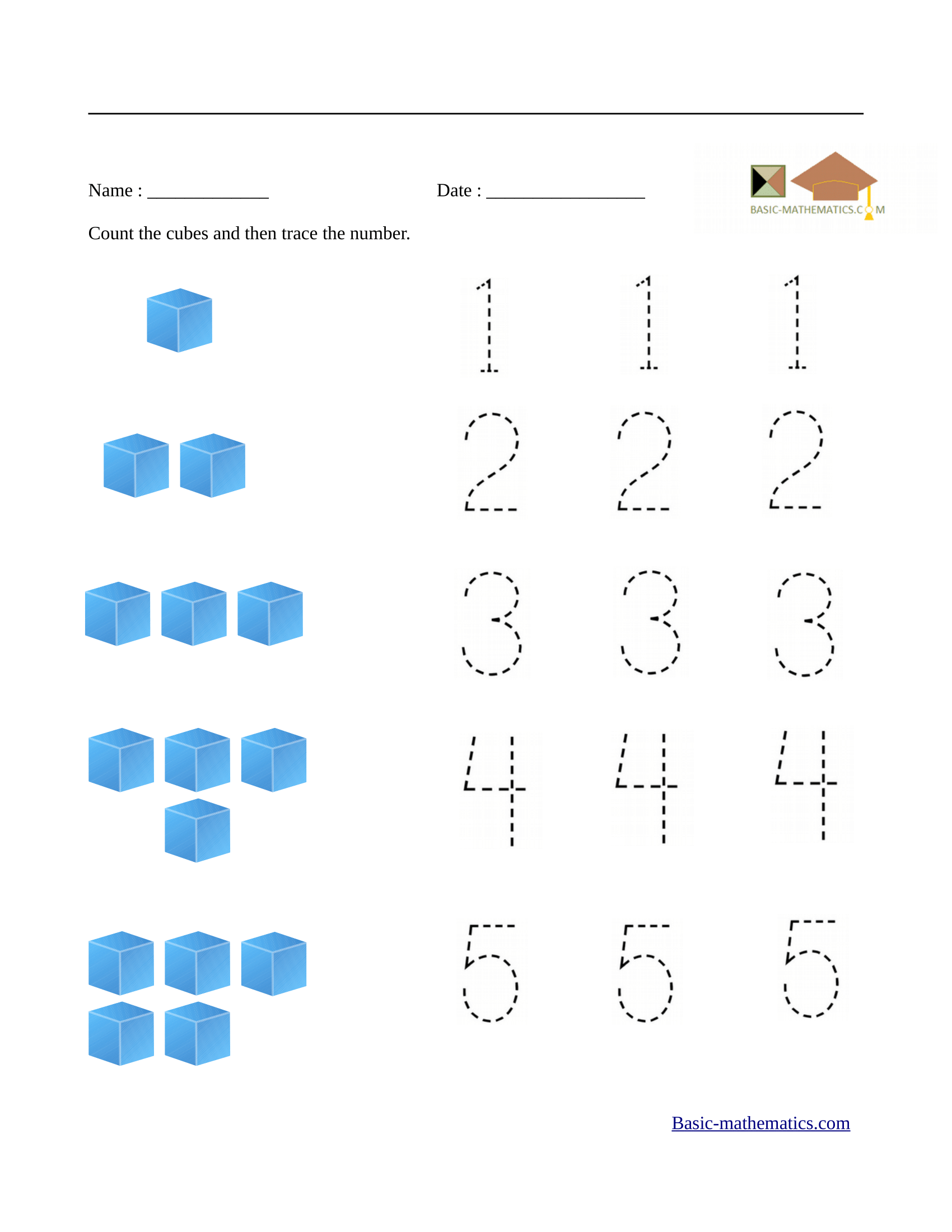 Preschool Math Worksheets Free